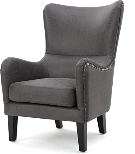 Christopher Knight Home Lorenzo Fabric Hi-Back Studded Chair