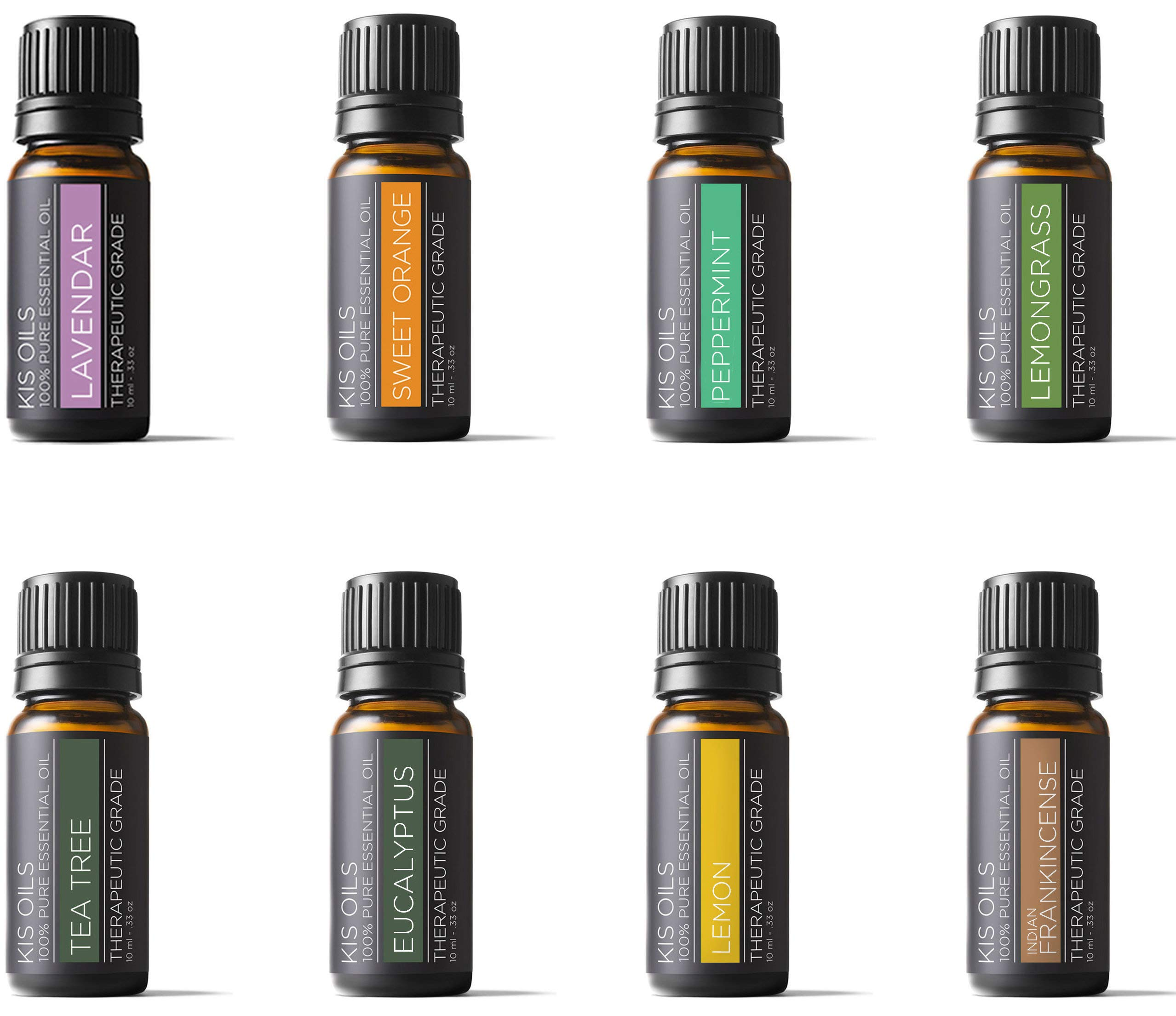 Aromatherapy Top 8 100% Pure Therapeutic Grade Basic Sampler essential oil gift set 8/10ml (lavender, sweet orange, peppermint, lemongrass, tea tree, eucalyptus, lemon, frankincense)