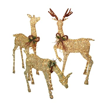 Wonderful Srt Of Three Outdoor Golden Lighted Holiday Reindeer