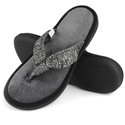 358f0fa4e35b5e Women s Cozy Memory Foam Plush Gridding Velvet Lining Spa Thong Flip Flops  Clog Style House Indoor