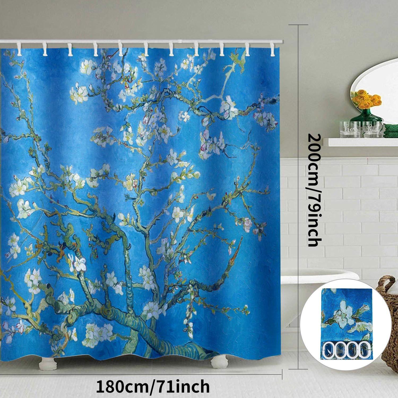 ENCOFT Cortinas de Ba/ño Antimoho Impermeable Cortinas de Ducha Poli/éster con 12 Ganchos Flor de Albaricoque 180 x 180 cm