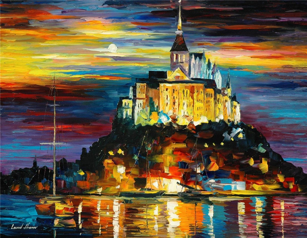 100% Hand Painted Oil Paintings Modern Abstract Art Oil Painting The Castle in the Moonlight Home Wall Decor (36X46 Inch, Wall Arts 11) by Bingo Arts