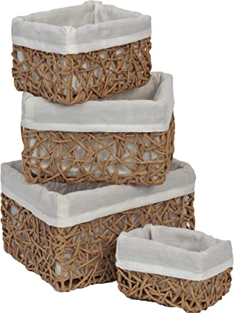 Delicieux Evideco Paper Rope Storage Utilities Baskets Totes Set Of 4 Beige Shelf  4 Piece Set
