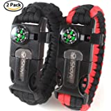 2-PACK Survival Paracord Bracelet, Flint Fire Starter, Loud Whistle, Compass, Scraper Knife - 5 in 1 Gift for Men & Women - Tactical Emergency Kit For Camping, Hunting, Wilderness Hiking, Fishing