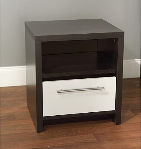 Target Marketing Systems Two-Toned Contemporary Nightstand with 1 Open Shelf and 1 Drawer, Espresso White