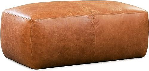 Poly and Bark Denver Modern Leather Ottoman Pouf Cognac Tan