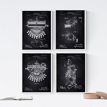 Nacnic Negro - Pack de 4 Láminas con Patentes de MAQUINAS DE Escribir. Set de