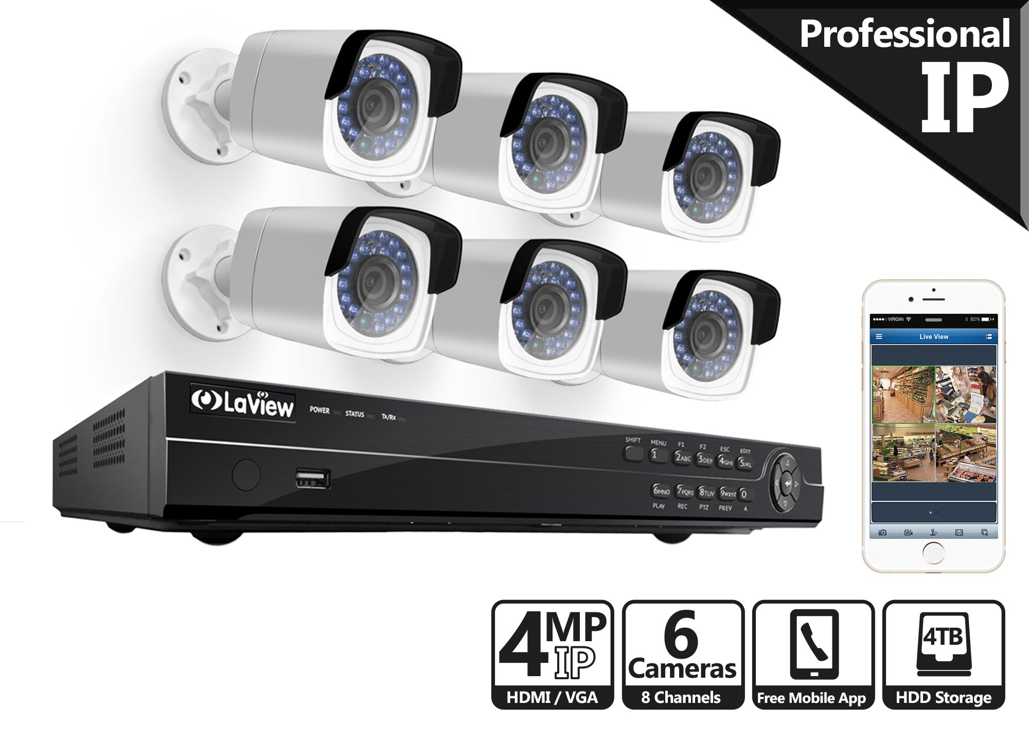 LaView 4-Megapixel (2688 x 1520) 8 CH PoE NVR Security Cameras System - 6 4MP Bullet IP Surveillance Cameras, 100ft Night Vision, Pre-Installed 4TB Hard Drive