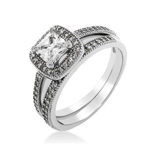 Set de anillos de boda compromiso Diseño Hiedra Cuadrada Circonia ...