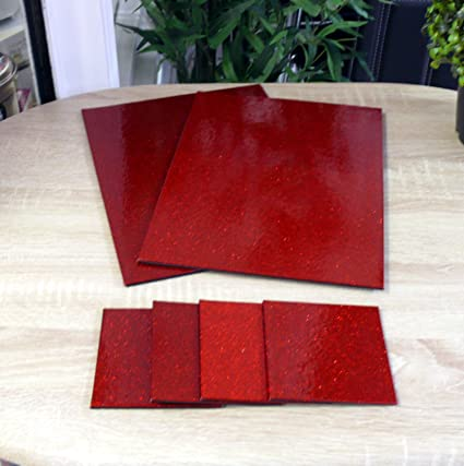29497f6aaed4 Image Unavailable. Image not available for. Colour: GLITTER SPARKLE SHINY  COASTERS PLACE MATS GOLD BLACK RED ...
