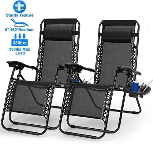 Zero Gravity Chair Adjustable Patio Lounge Chairs TeqHome Set of 2 with Pillow Beach Pool Outdoor Folding Reclining Chair with Cup Holder-Black