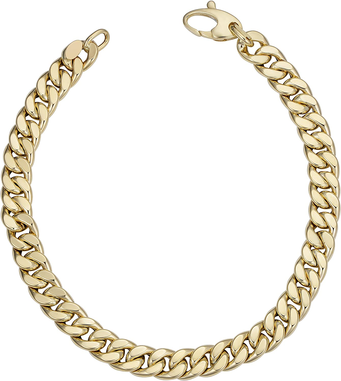 Kooljewelry Mens 14k Yellow Gold Curb Bracelet (6.2 mm, 8.5 inch)