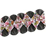 Sanitary Reusable Cloth Menstrual Pads by Heart Felt | 5 Pack Washable Sanitary Napkins with Charcoal Absobancy Layer - Overnight Long Panty Liners for Comfort and Support