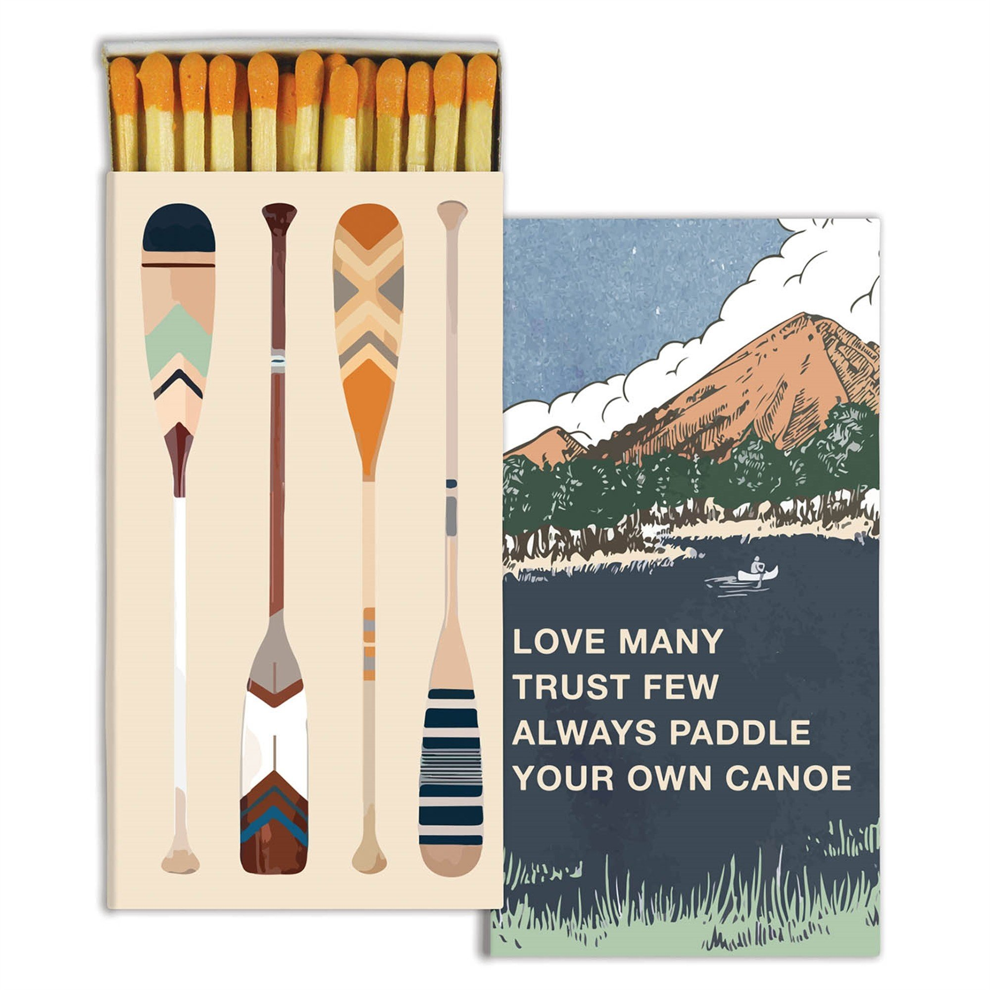 Vintage Retro Camping Matches | Paddle Canoe Outdoor Sports Set 10 by My Swanky Home