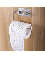 Taozun Self Adhesive SUS 304 Stainless Steel Toilet Paper Holder Storage Bathroom Kitchen Paper Towel Dispenser Stick On Sticky Tissue Roll Hanger Wall Mount Contemporary Style Brushed Finish
