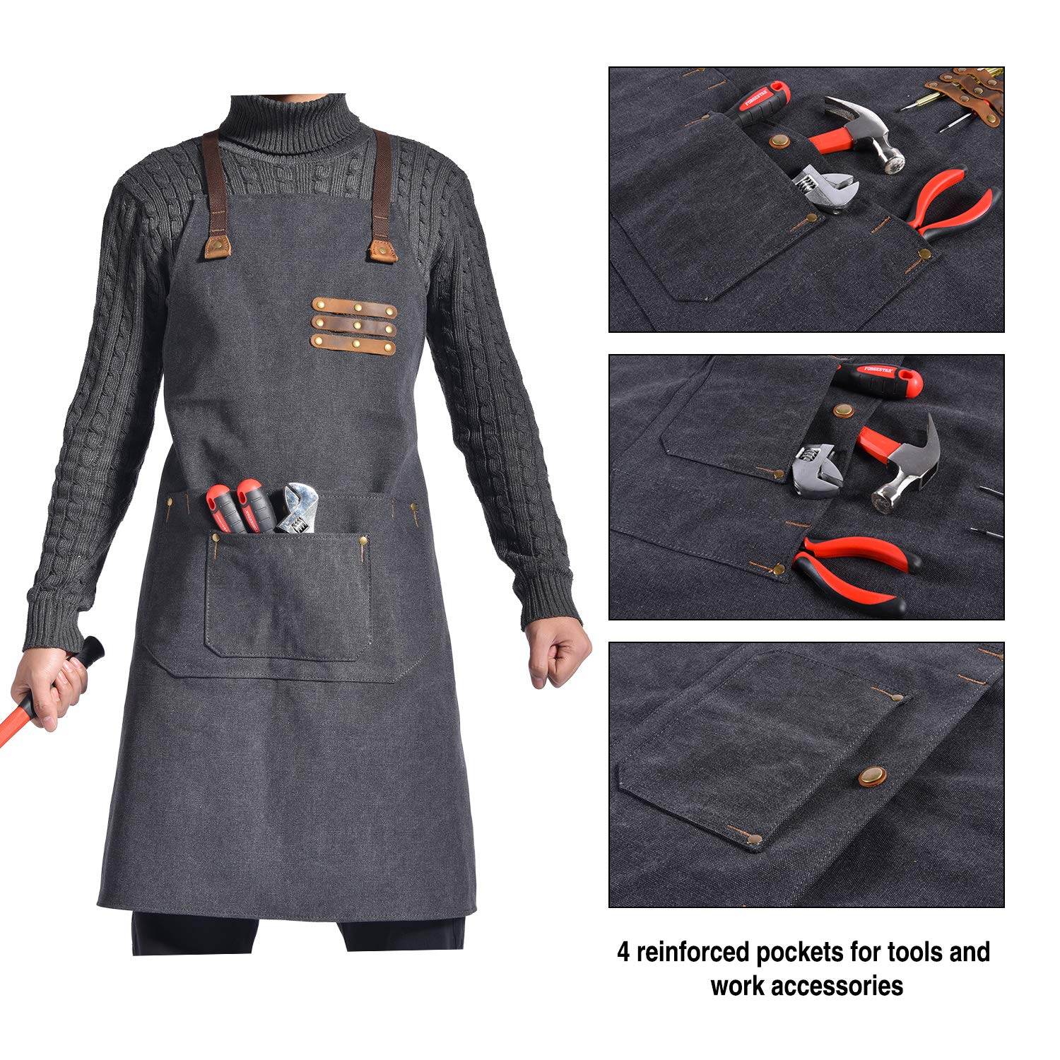 Canvas Shop Apron for Men & Women  Heavy Duty Work Apron with Pocket & Cross-Back Straps   Adjustable Tool Apron M to XXL(Grey) by ruizhixuan (Image #3)