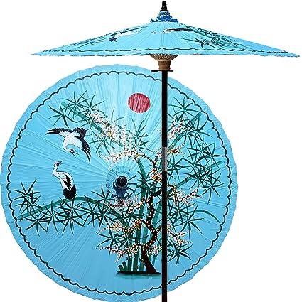 Gentil 84u0026quot; Asian Patio Umbrella   Handpainted Asian Splendor In Andaman Blue