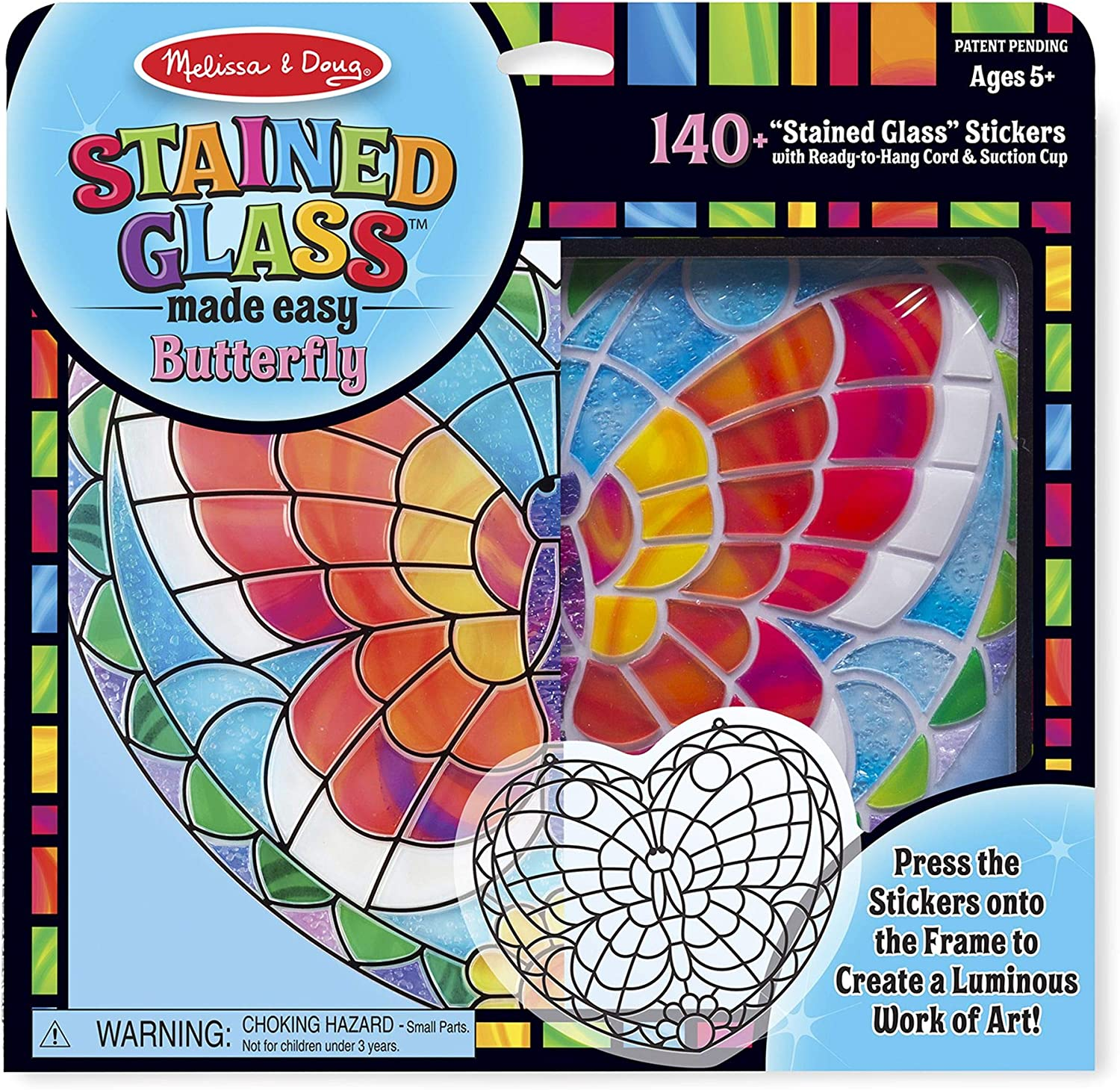 Multi-color Arts and Crafts 140+ Stickers Develops Problem Solving Skills Butterfly 10.5 H x 10 W x 0.25 L Melissa /& Doug Stained Glass Made Easy Activity Kit
