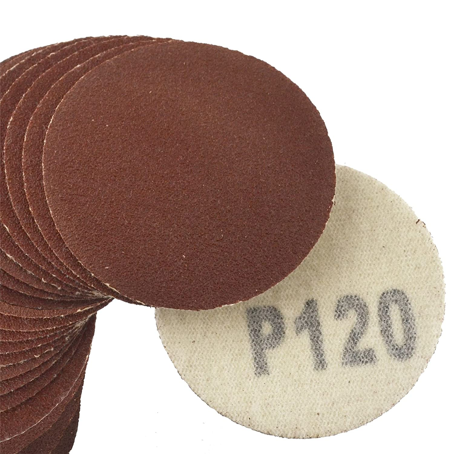 AT376 50mm 50 Pack Hook//Loop DA Sanding Grinding Abrasive Pad 120 Grit Discs 2