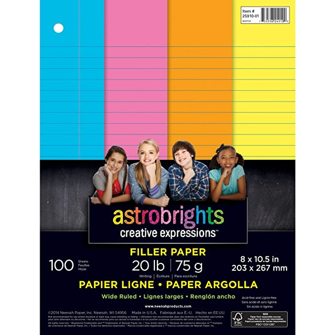 Superior Amazon.com : Wausau Astrobrights Wide Ruled Filler Paper Assortment, 100  Count, 8 X 10.5 Inches (25910) : Notebook Filler Paper : Office Products To Color Lined Paper