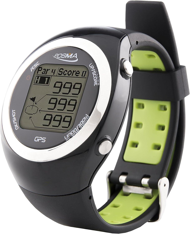 Posma GT2 Reloj de Entrenamiento de Golf con GPS y telémetro, Campos de golf preinstalados sin necesidad de descargas previas ni suscripciones, Negro