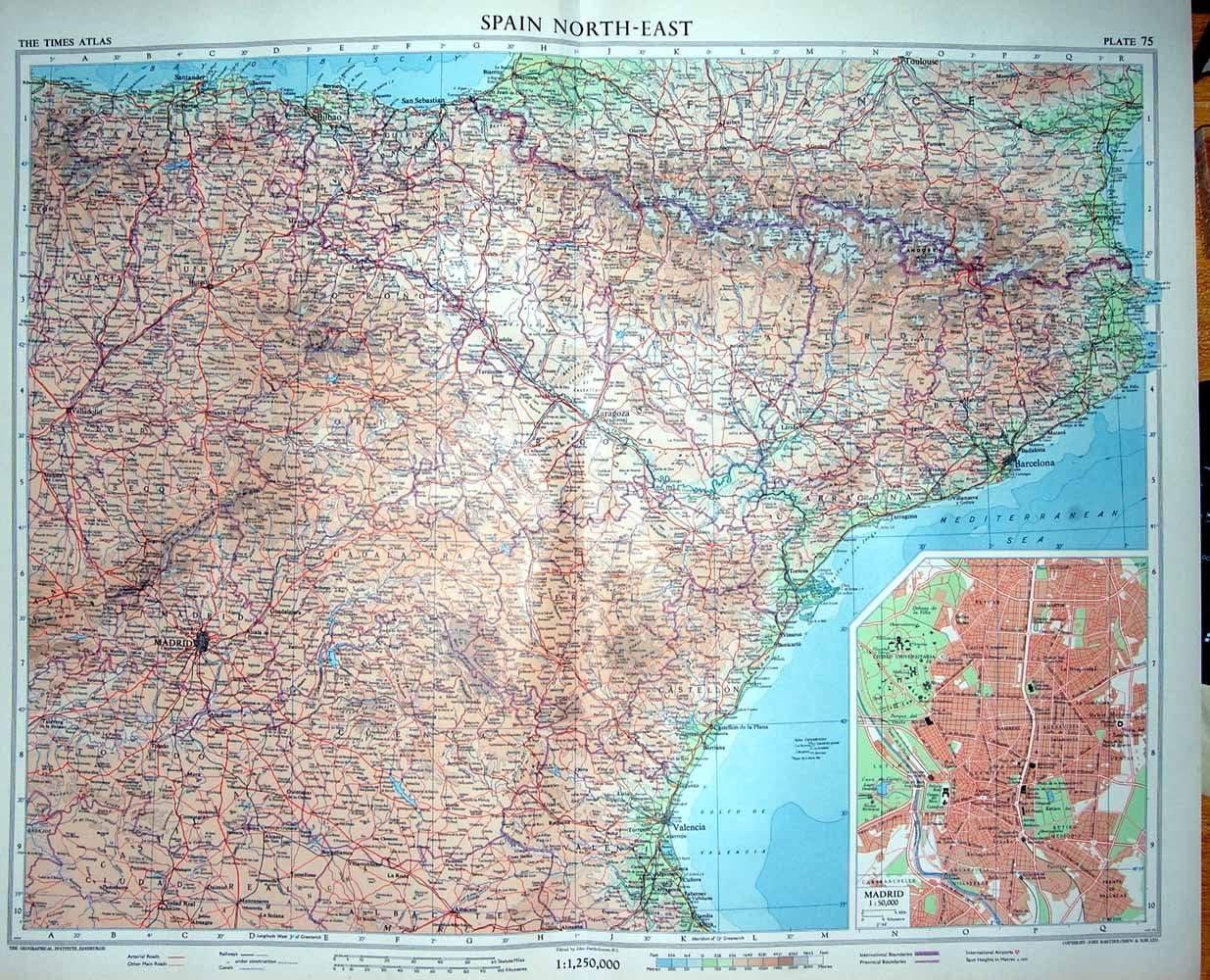 Mapa del norte de España Bacelona 1956 color Plan Madrid Reus: Amazon.es: Hogar