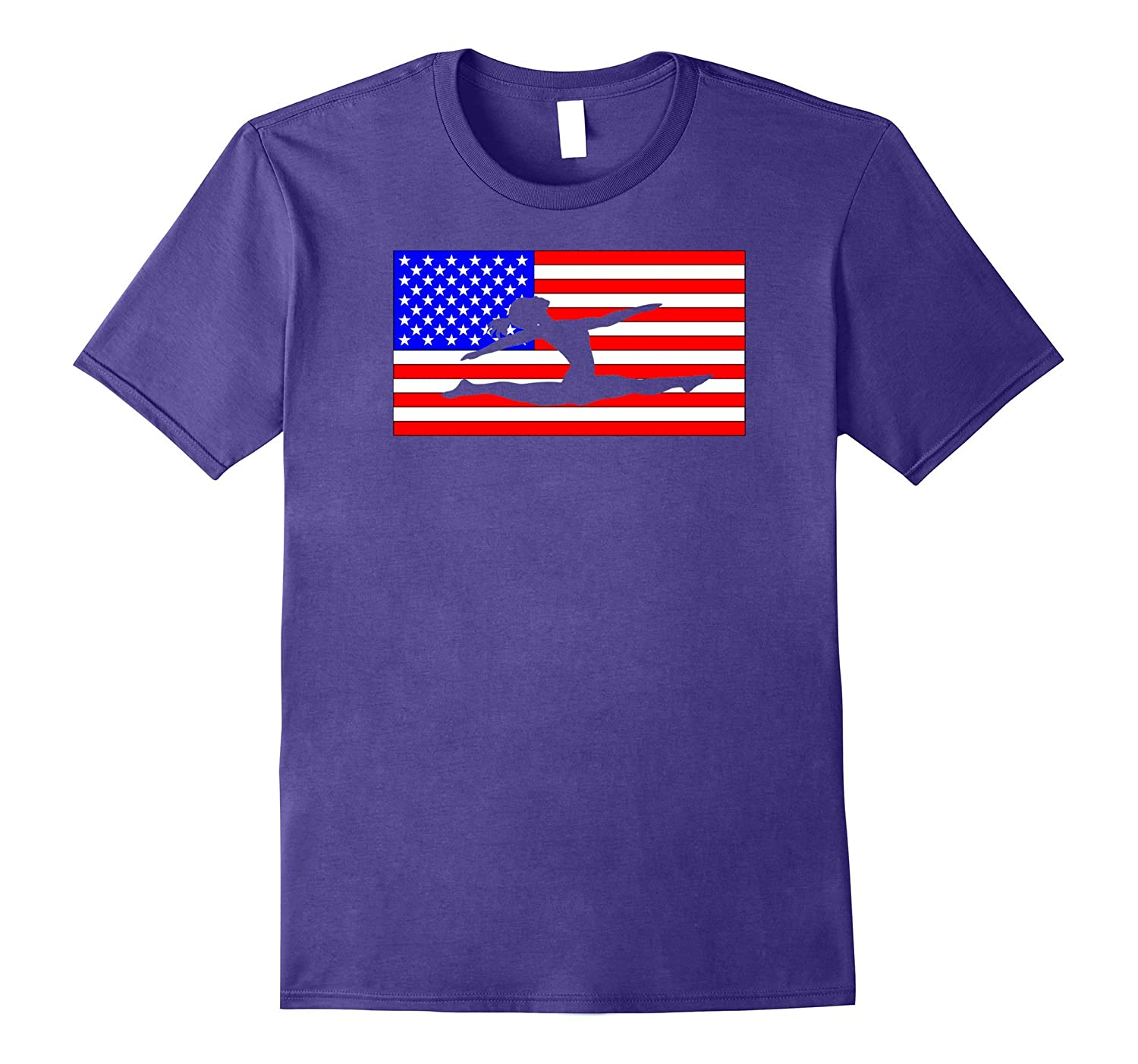Girls Womans American Flag Gymnastics T-Shirt-Vaci