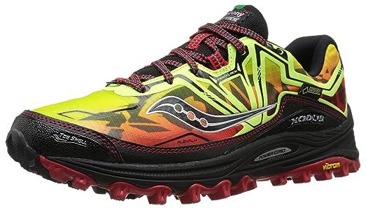 Saucony Men's Xodus 6.0 GTX Running Shoe, Citron/Red/Black,7 M