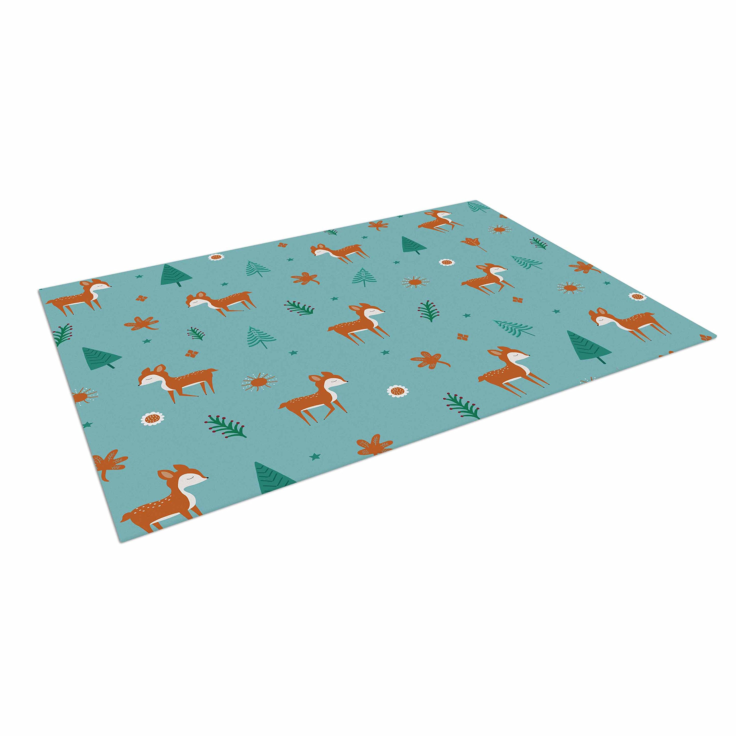 KESS InHouse Cristina bianco Design ''Cute Deer Pattern'' Teal Kids Outdoor Floor Mat, 4' x 5'