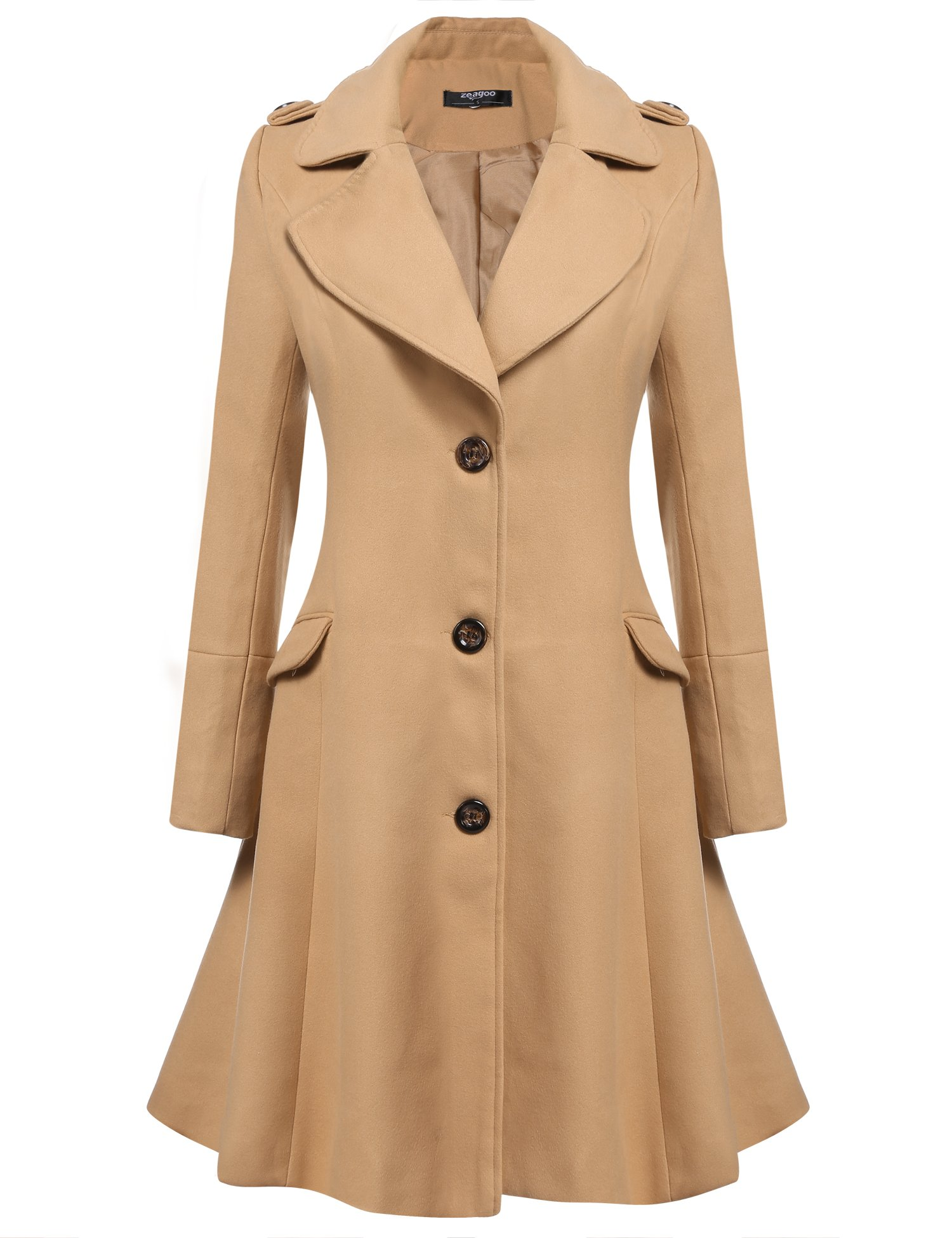 Zeagoo Women's Stylish Lapel Faux Fur Collar Wool Blend Long Sleeve Trench Coat Dress Coat by Zeagoo