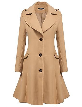 Zeagoo Women Lapel Single Breasted Wool Overcoat Long Swing Coat Jacket  Camel Small