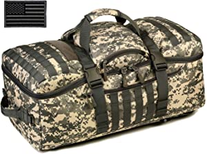 Protector Plus Tactical Travel Backpack 60L Military MOLLE Duffel Bag Luggage Suitcase Hiking Camping Outdoor Rucksack (Rain Cover & Patch Included)