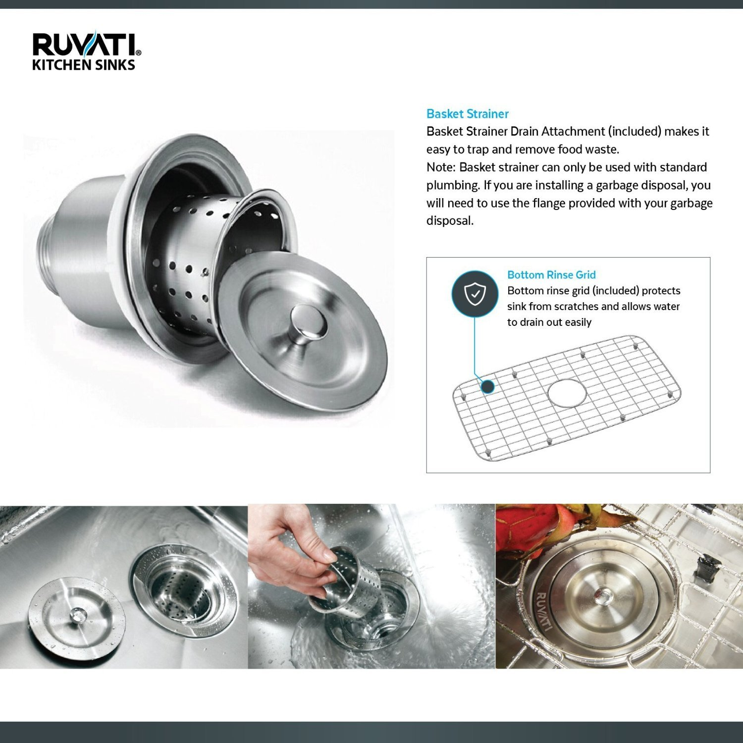 Ruvati 15 x 20 inch Drop-in Topmount Bar Prep Sink 16 Gauge Stainless Steel Single Bowl - RVH8110 by Ruvati (Image #8)