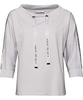35fca5c2ceab51 MONARI Damen Shirt Happy, Rundhals 3/4, weiß (44 EU): Amazon.de ...