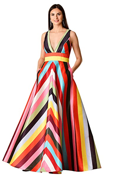 1960s – 70s Cocktail, Party, Prom, Evening Dresses eShakti FX Plunge Chevron Stripe Print Dupioni Dress- Customizable Neckline Sleeve $109.95 AT vintagedancer.com