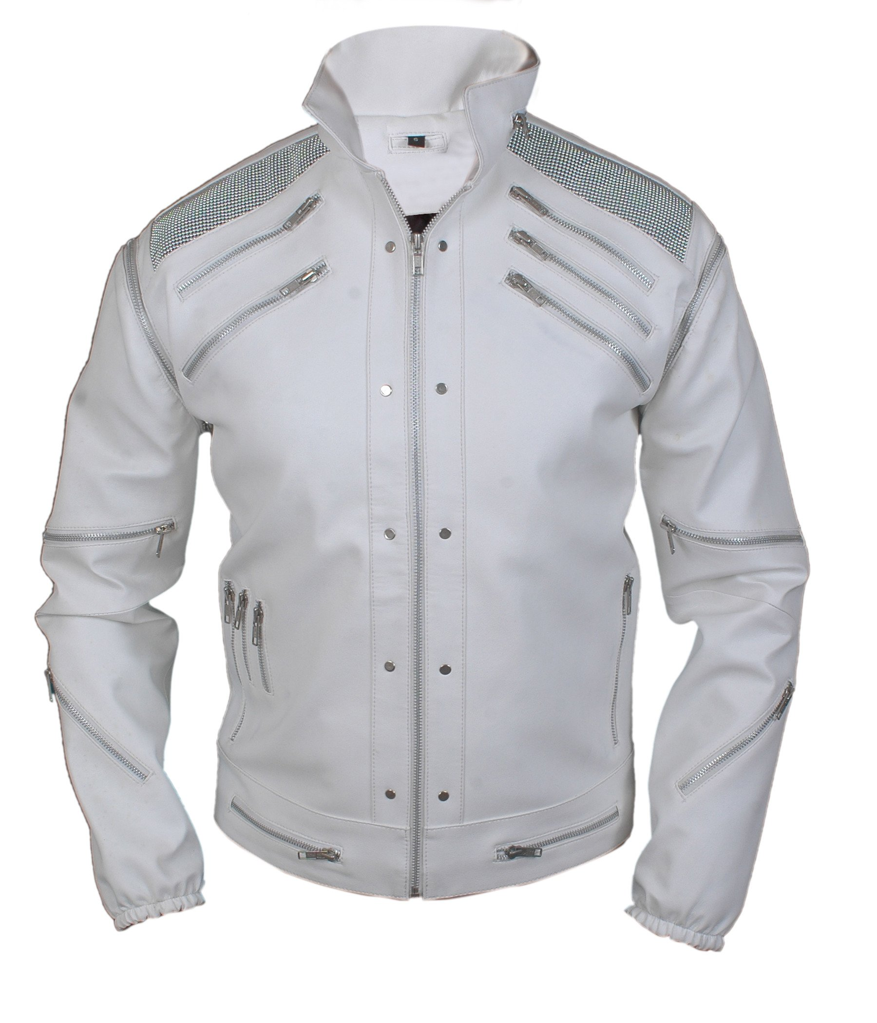 F&H Boy's Michael Jackson Beat It Genuine Leather Jacket XL White by Flesh & Hide