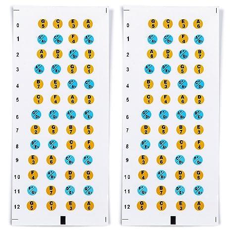 Adhesivos de Nota de Diapasón de Ukulele Pegatina del Mapa de Trastes de Diapasón Multicolor (