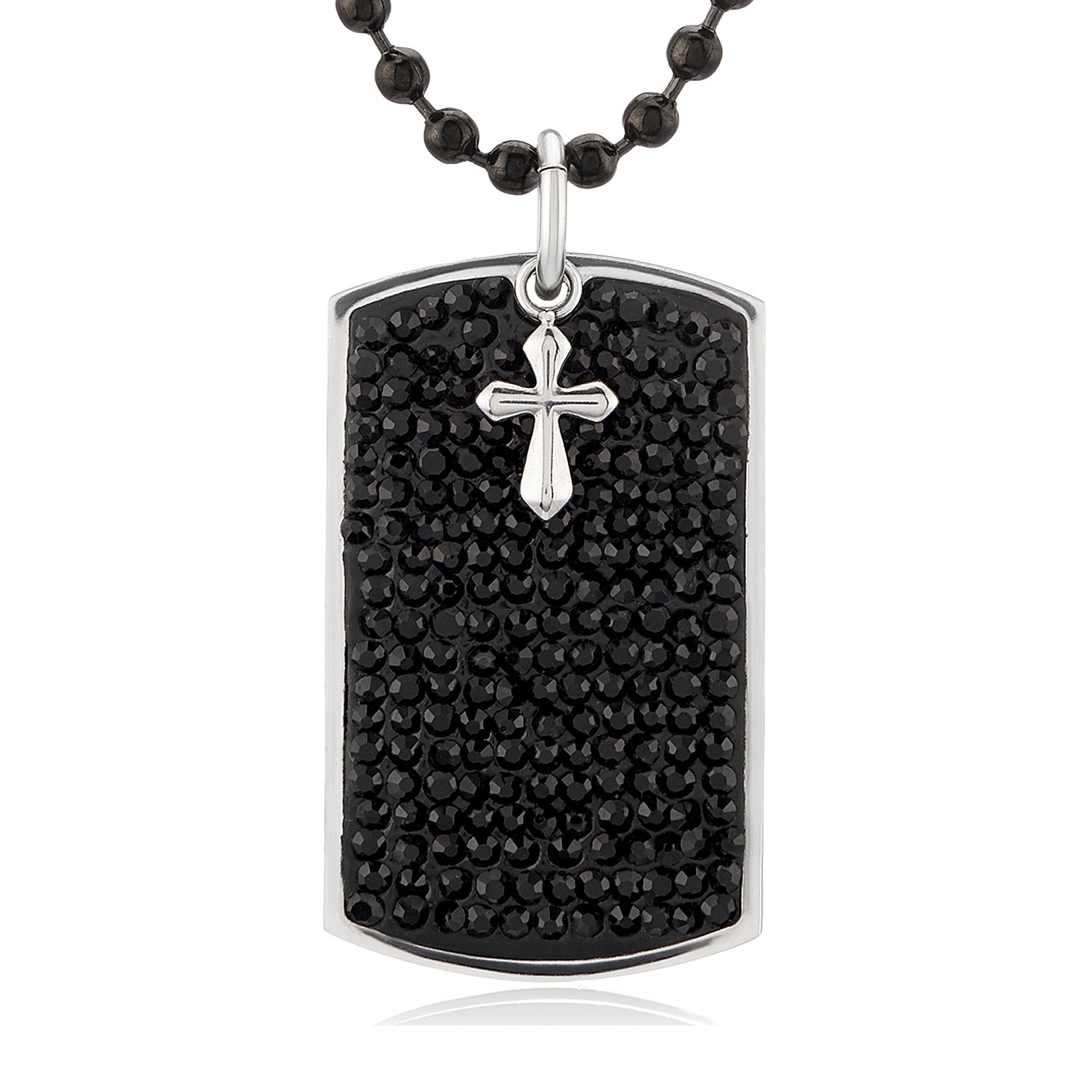 West Coast Jewelry | Crucible Stainless Steel Black Crystals with Cross Charm Dog Tag Pendant