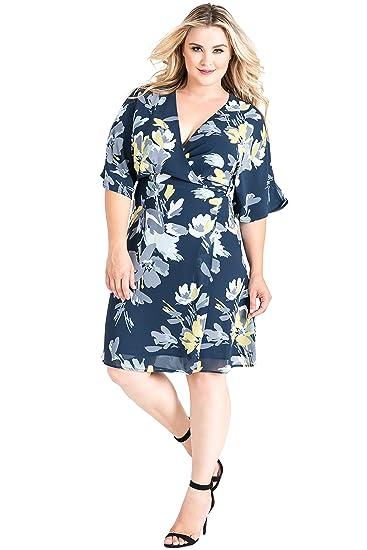 f0c93c0369d Standards & Practices Plus Size Modern Womens Navy Floral Kimono Wrap Midi Dress  Size 1X