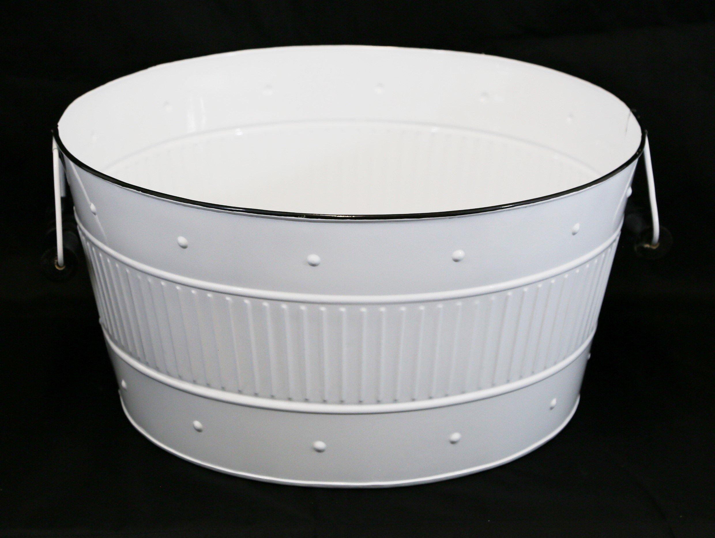 Large White Round Enamel Tub