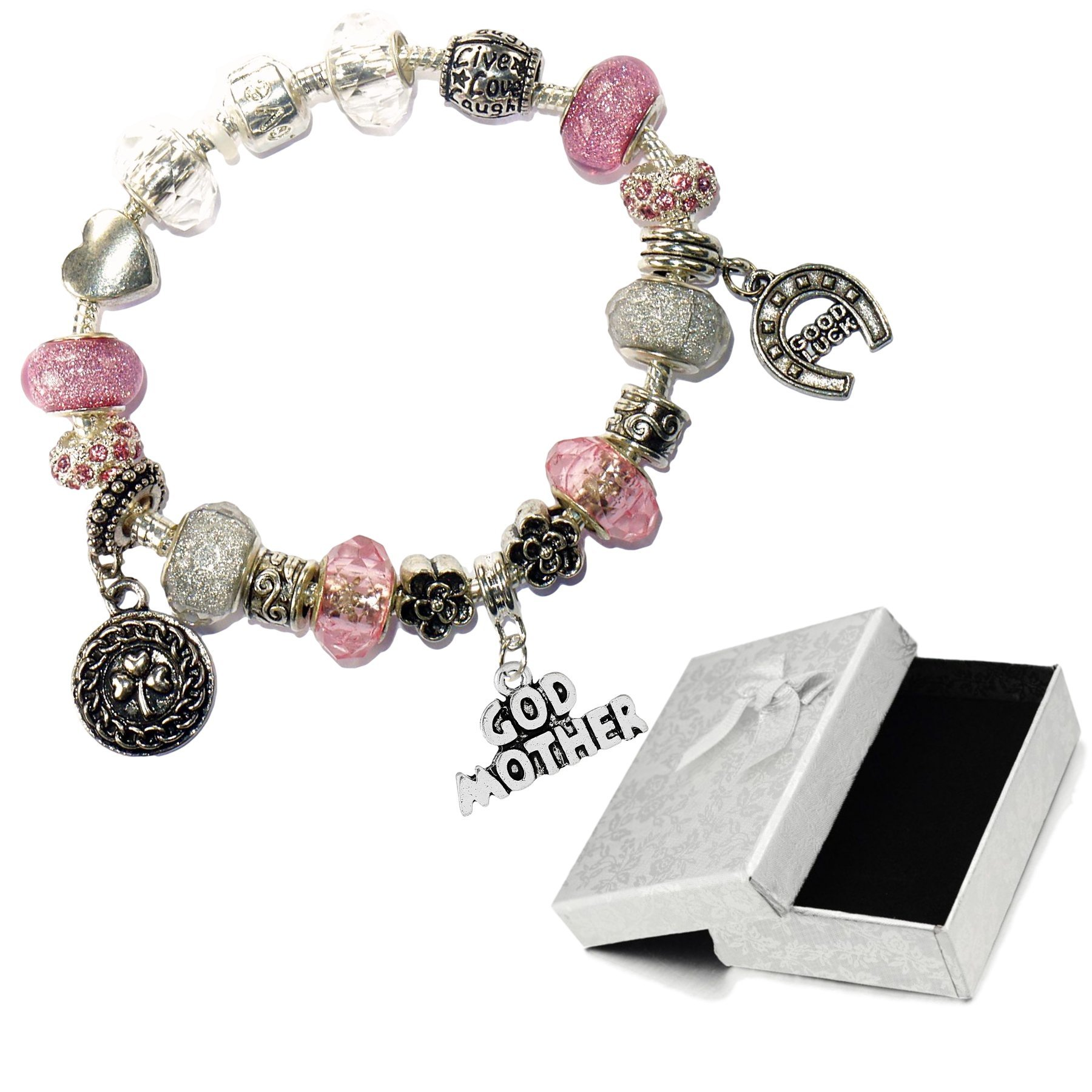 Charm Buddy Special Godmother Pink Silver Crystal Good Luck Pandora Style Bracelet With Charms Gift Box