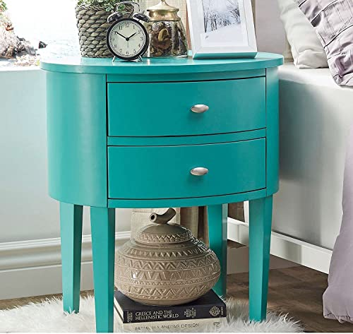 ModHaus Living Modern Style Wood Accent Nightstand End Sofa Table Console Oval Shaped