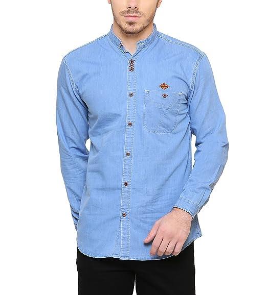 0b3ef06723 Kuons Avenue Men s Denim Chinese Collar Long Sleeve Shirt  (KACLFS1171M Icewash Medium)