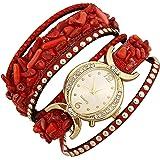 Aelo Red Bracelet Analogue Gold Dial Women's Watch - Www1049