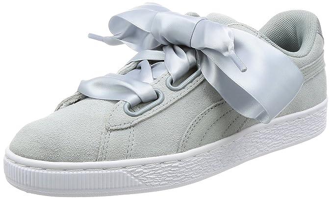 Puma Women''s Suede Heart Safari Low Top Sneakers, Grey
