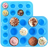 Ankway Silicone Muffin Tray (Pack of 2)- 12&24 Cups Resuable Silicone Bakeware Set Heat Resistant up to 450°F, Non Stick Silicone Moulds for Cupcakes and Baking-Dishwasher and Microwave Safe-Blue