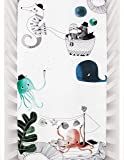 """Rookie Humans Organic Nautical Themed Cotton Sateen Crib Sheets: Underwater Love, Modern Crib Nursery Bedding, Fitted Mattress Sheets for Boys & Girls, Baby Shower Gift, Standard Size (52"""" x 28"""")"""