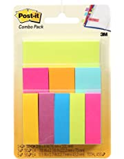 "Post-it Notes & Page Markers Combo Pack, 3"" x 4"", .5"" x 2"", 1"" x 3"", Bookmark Sticky Notes"