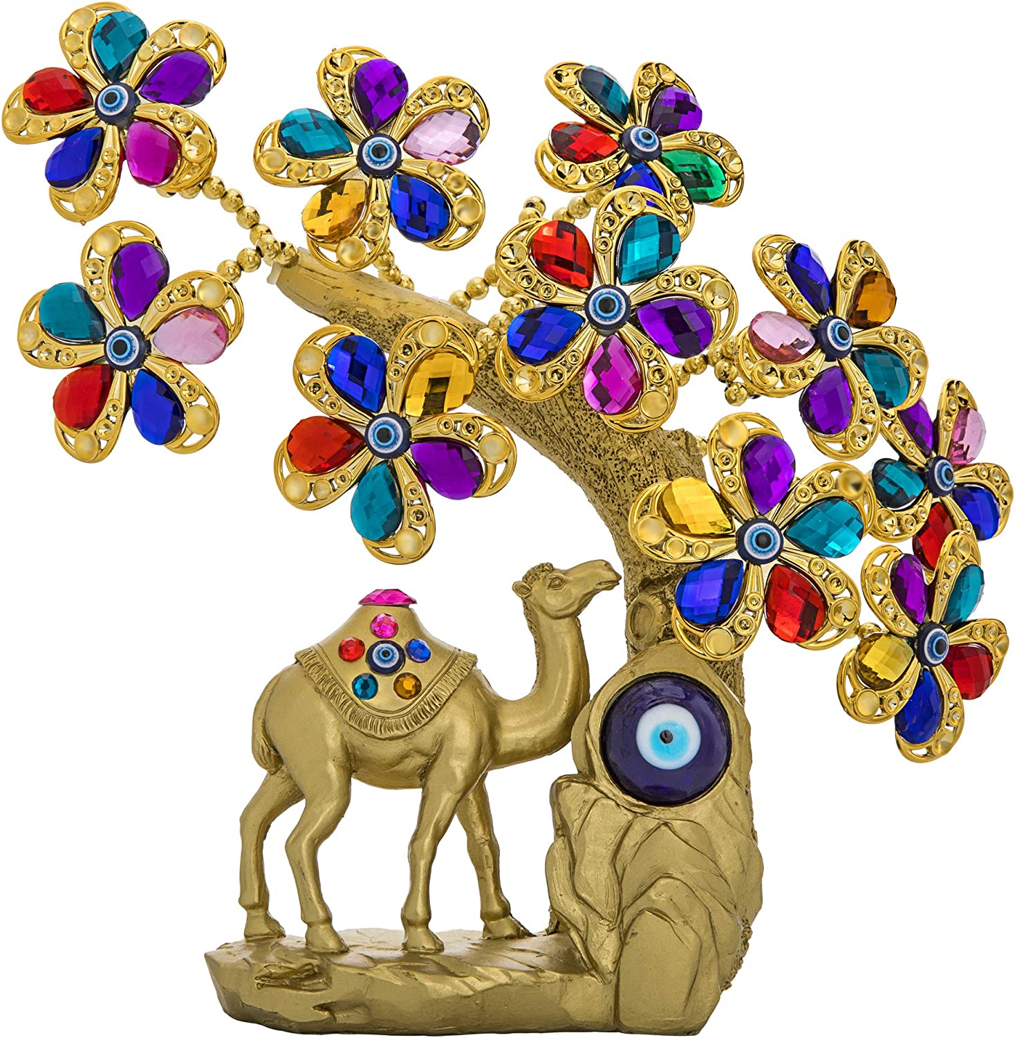 YU FENG Turkish Blue Evil Eye Flowers Tree with Healing Chakra Gemstones and Camel Figurine for Good Luck Wealth Prosperity Home Office Decor Fengshui Protection Gift