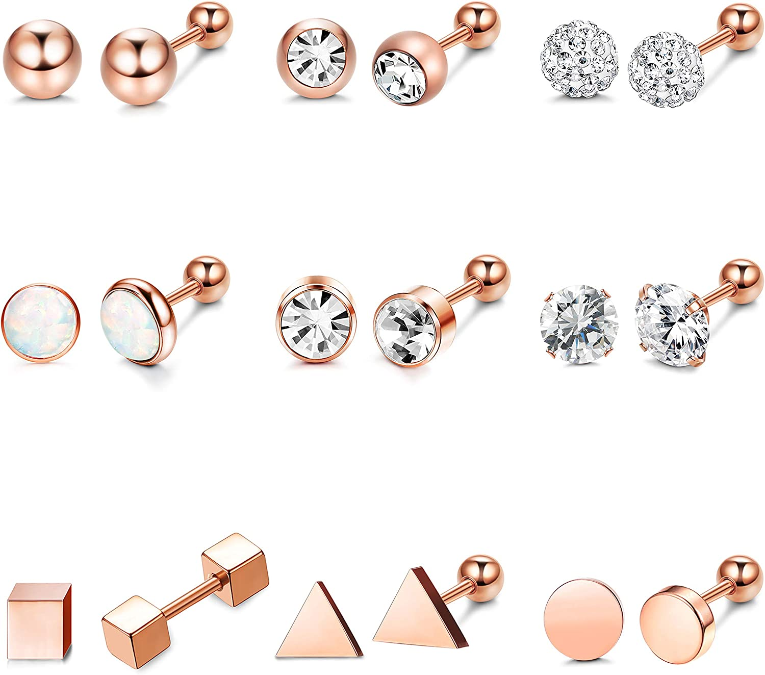 Hanpabum 9 Pairs Stainless Steel Ball Stud Earrings Barbell CZ Cartilage Helix Ear Piercing Jewelry Set for Men Women
